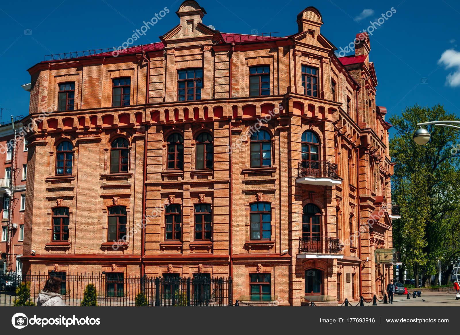 Fasada Budynku Czerwonej Cegly Stary Zdjecie Stockowe