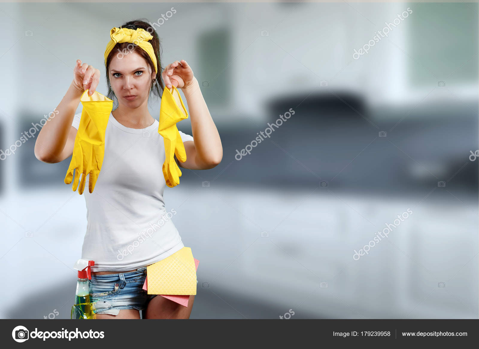 Happy Woman Cleaning House Funny Face Holds Red Gloves Hands
