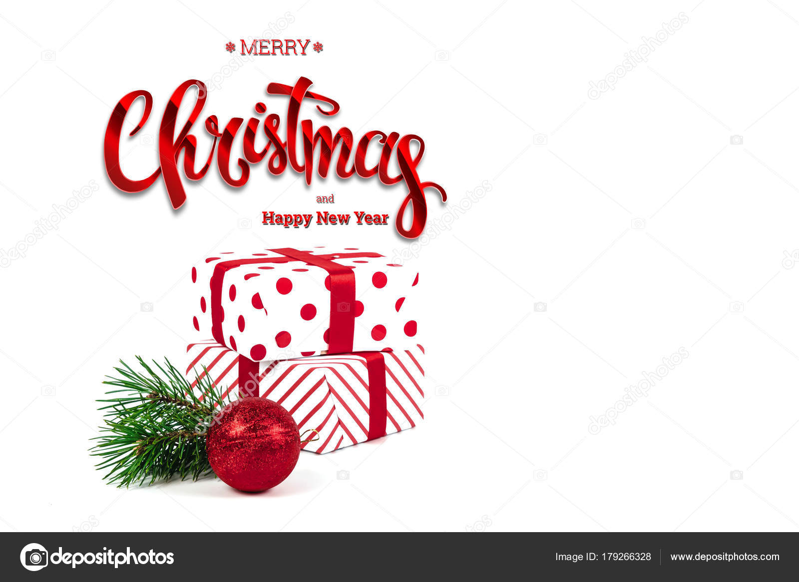 inscription merry christmas happy new year presents red ball white stock photo