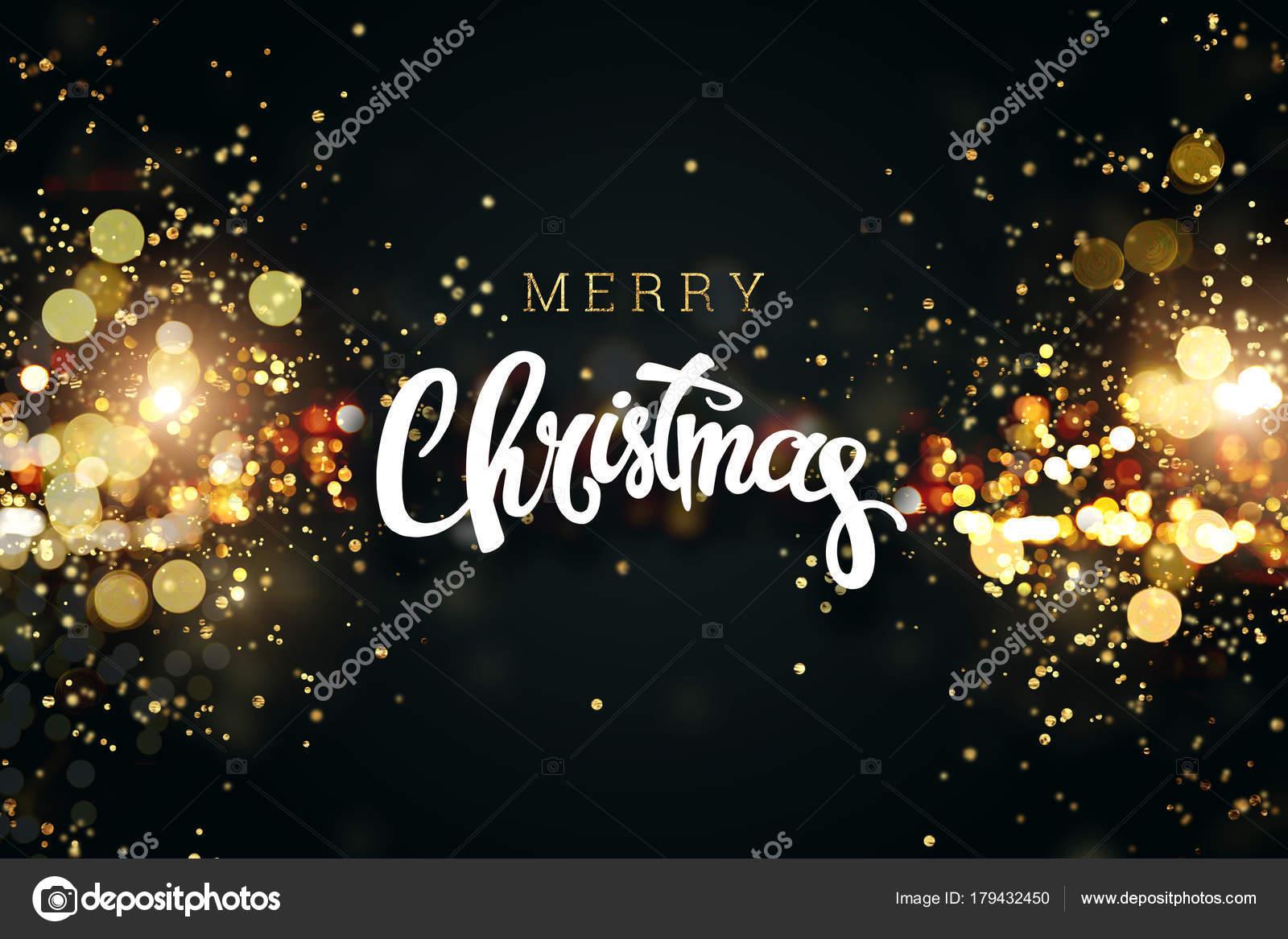 Merry Christmas. Christmas background with golden lights bokeh. Xmas ...