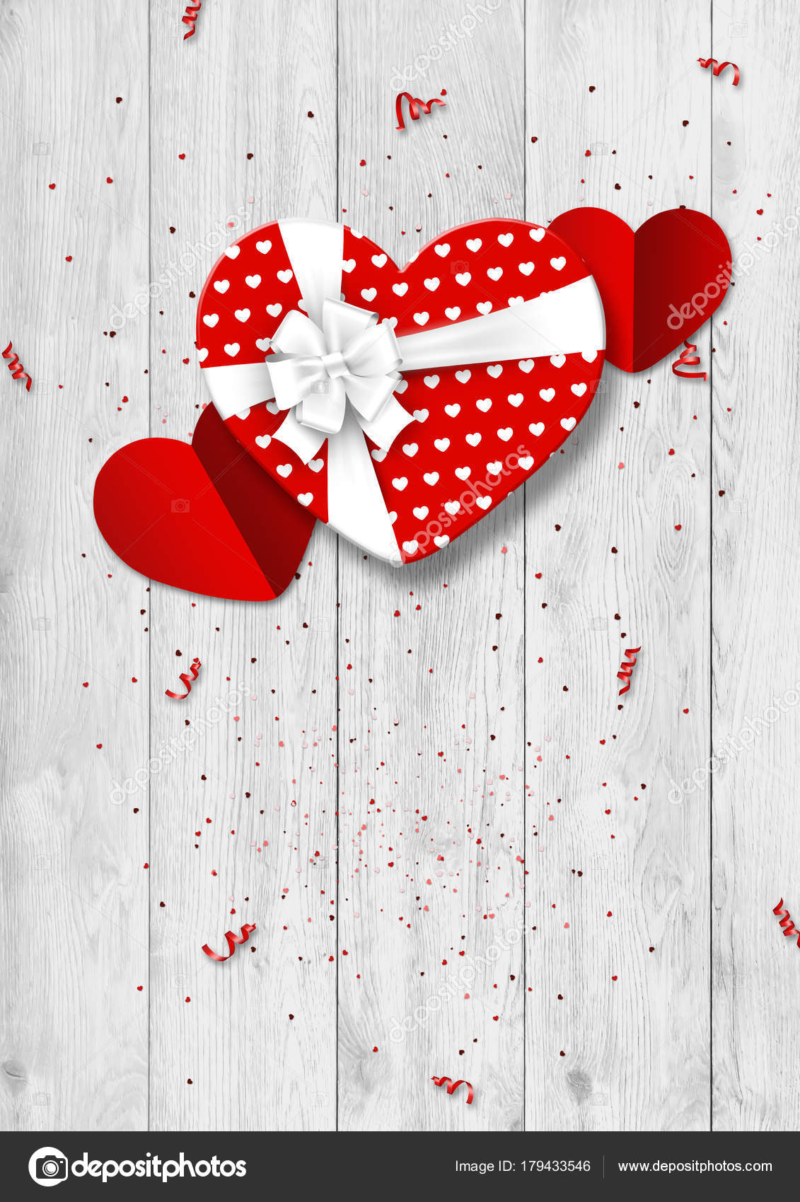 Happy Valentine\'s Day festive web banner. Top view of a romantic ...