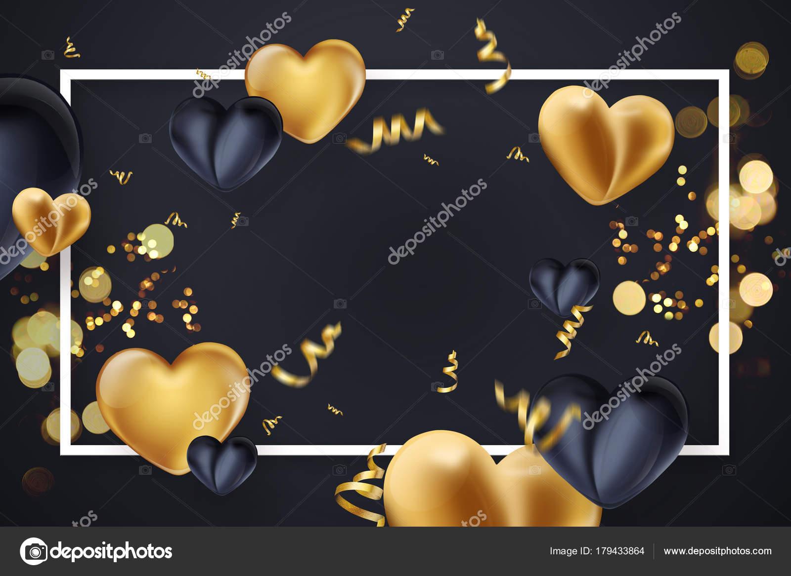 Happy Valentinstag, Web-Banner, schwarz-Gold. Komposition mit gold ...