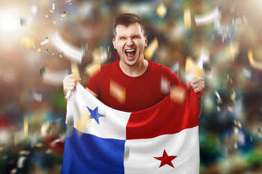 Panamanian fan, fan of a man holding the national flag of Panama in his hands. Soccer fan in the stadium. Mixed media