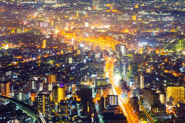 Night light cityscape view with modern building in japan