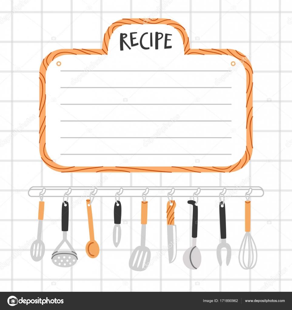 Rezept vorlage mit k chenutensilien stockvektor for Plantillas de cocina