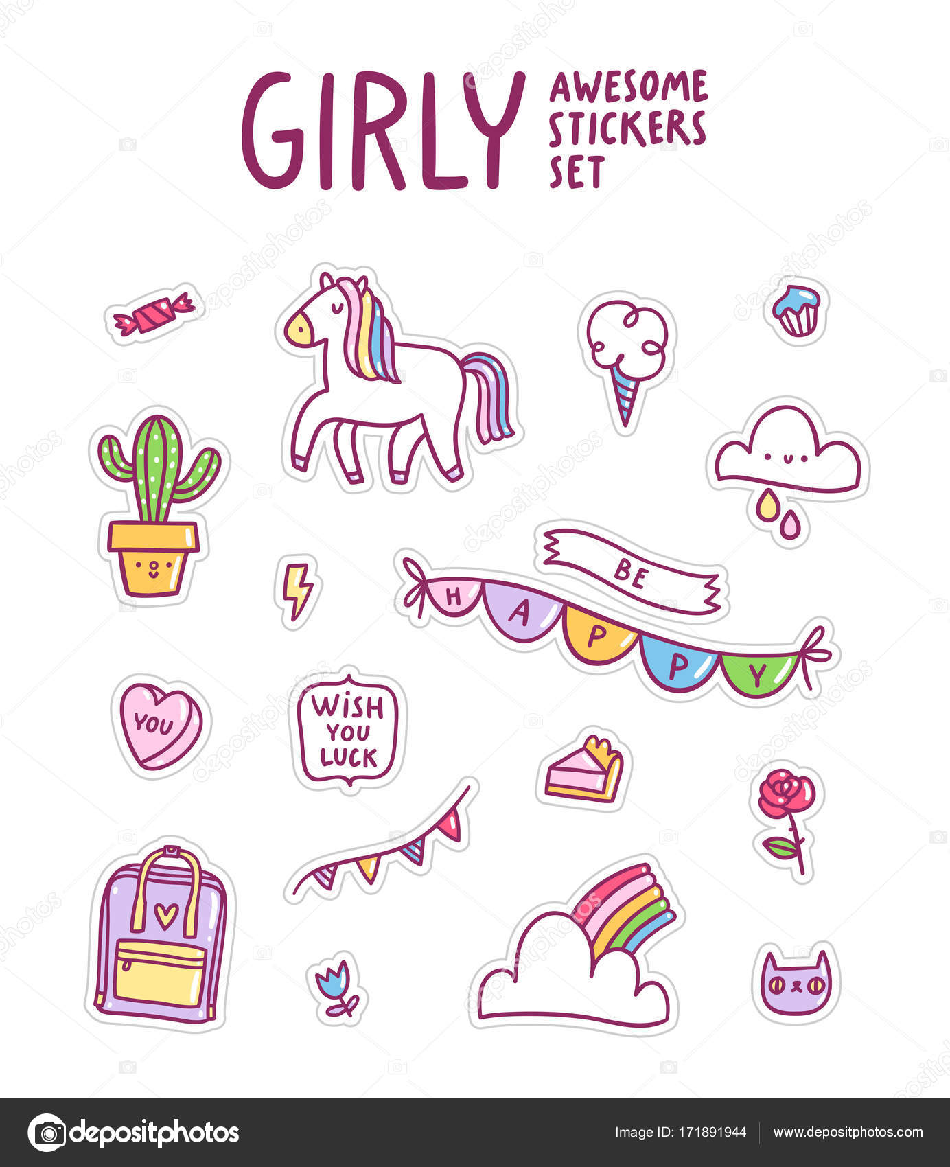 Girly awesome sticker set stock vector