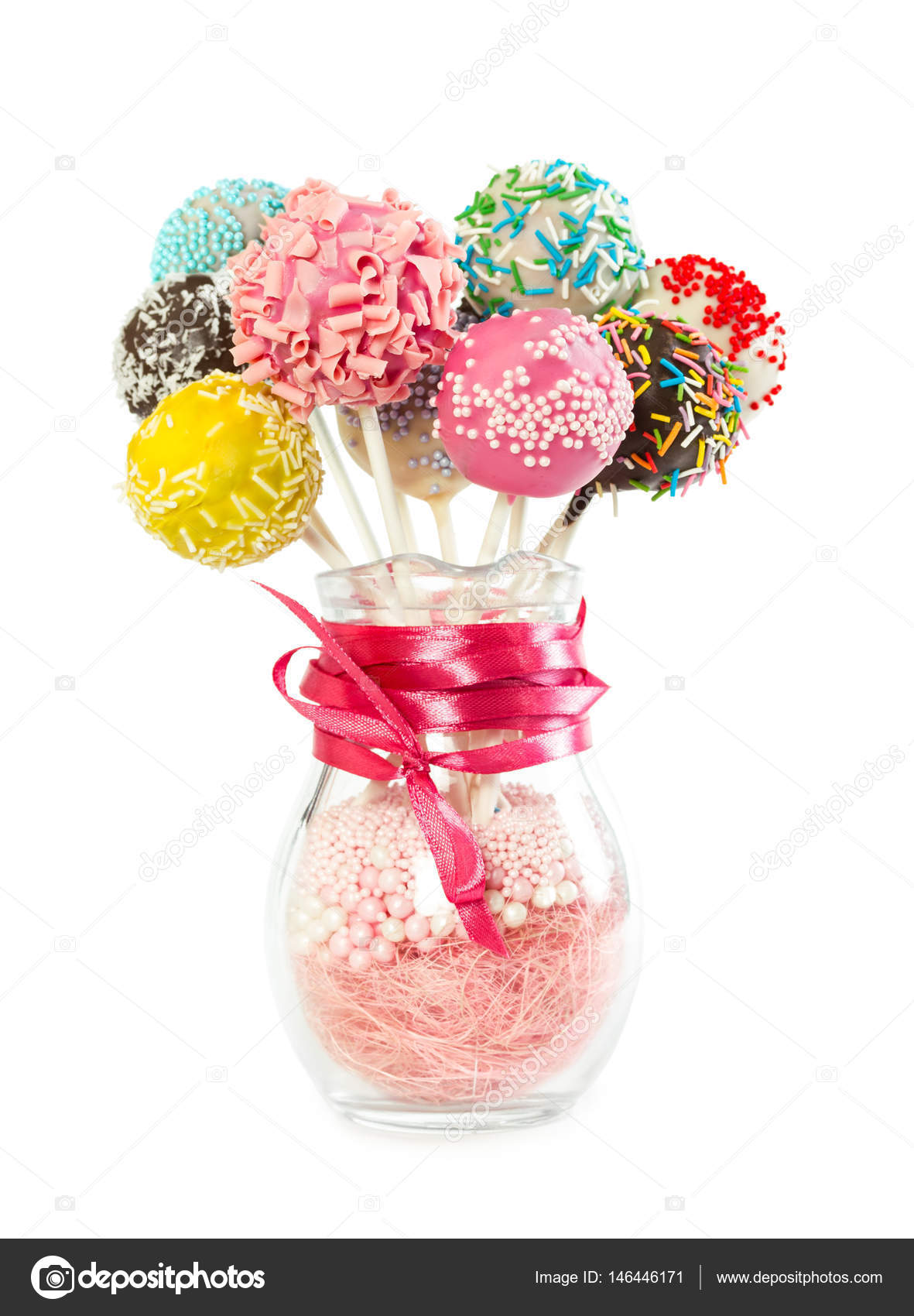 Colorfull cake pops with decorative sprinkles in glass vase — Stock ...