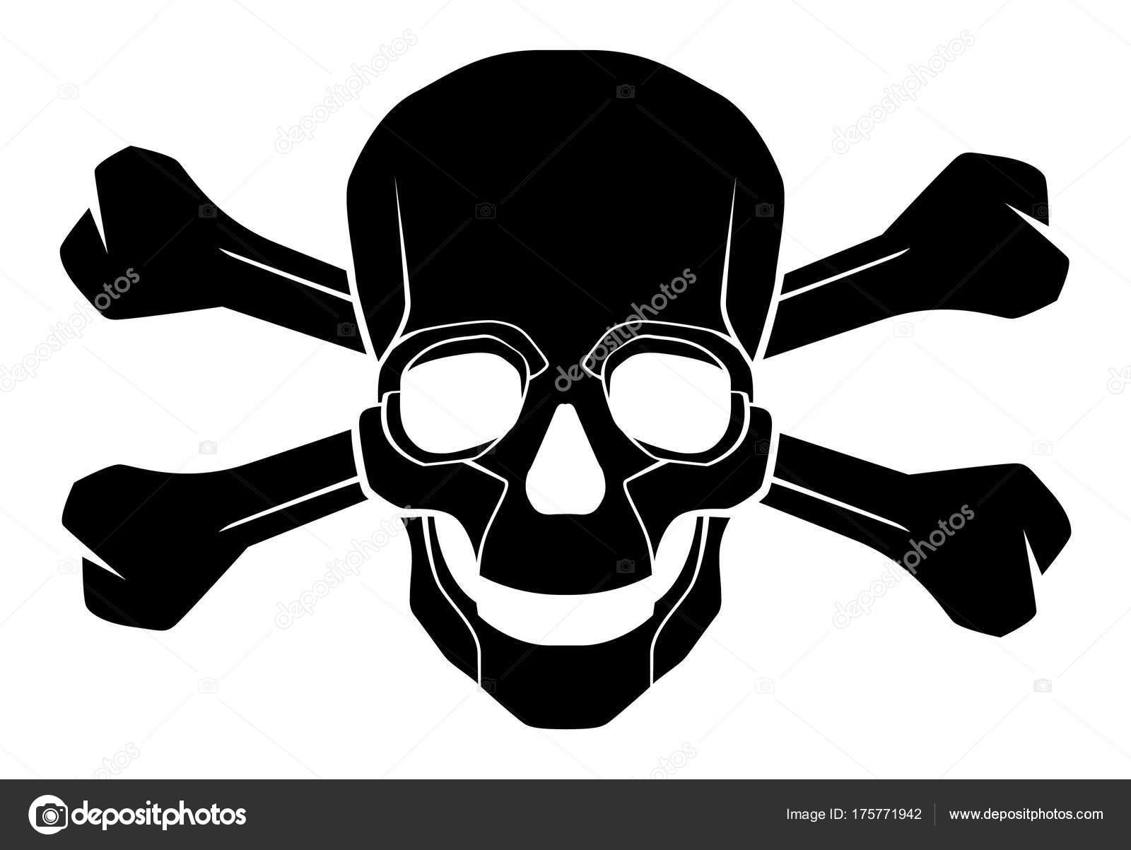 Zwart Wit Skull Crossbones Stock Illustratie Stockvector