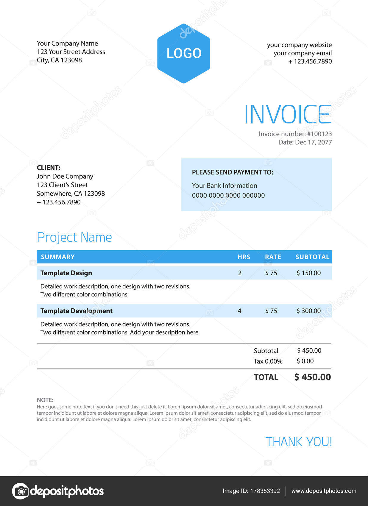 Rechnung Vorlage - blaue Farbe minimalistisches design — Stockvektor ...