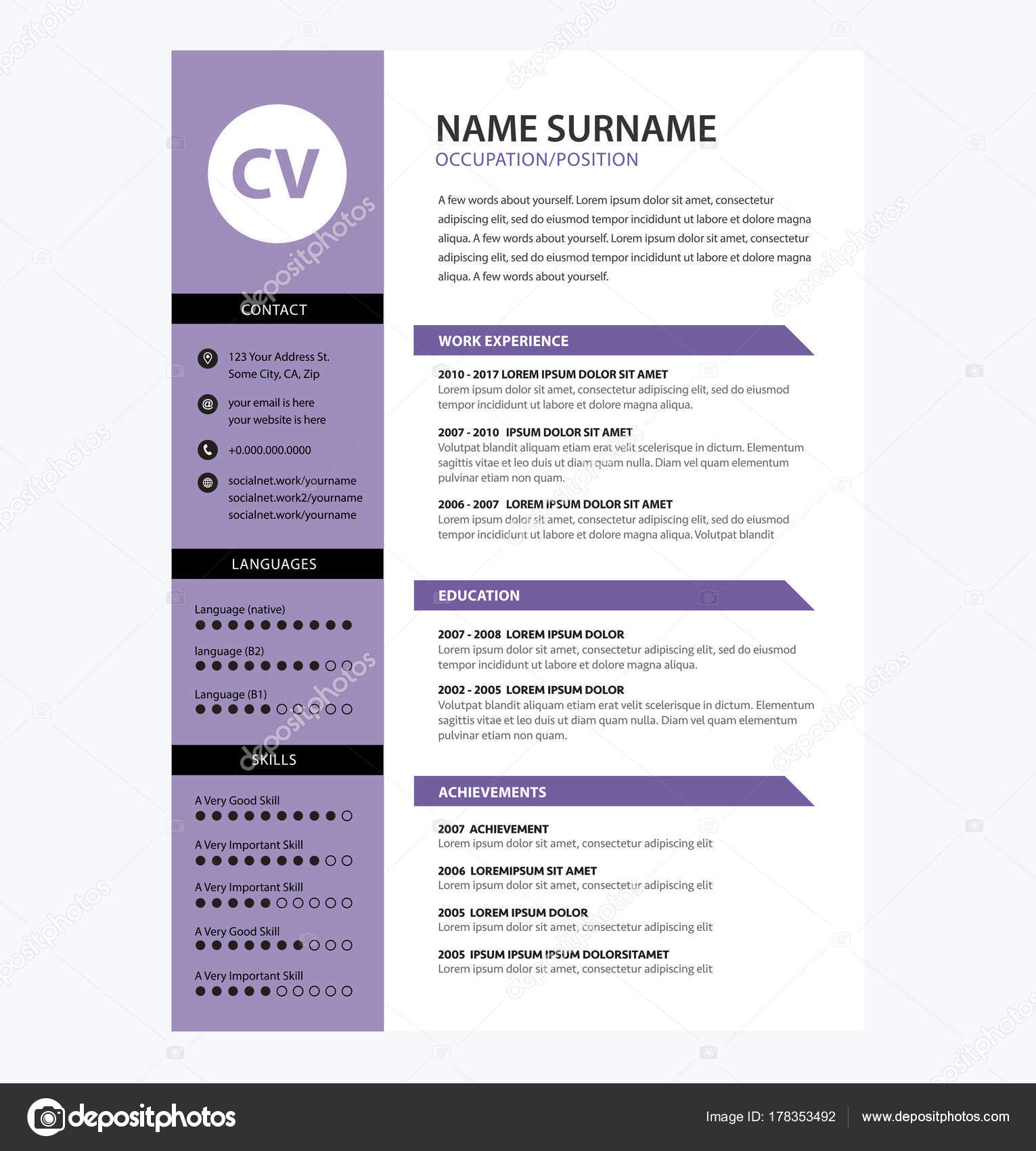 Minimalist Cv Template Ultra Violet Color  Vector  Stock Vector