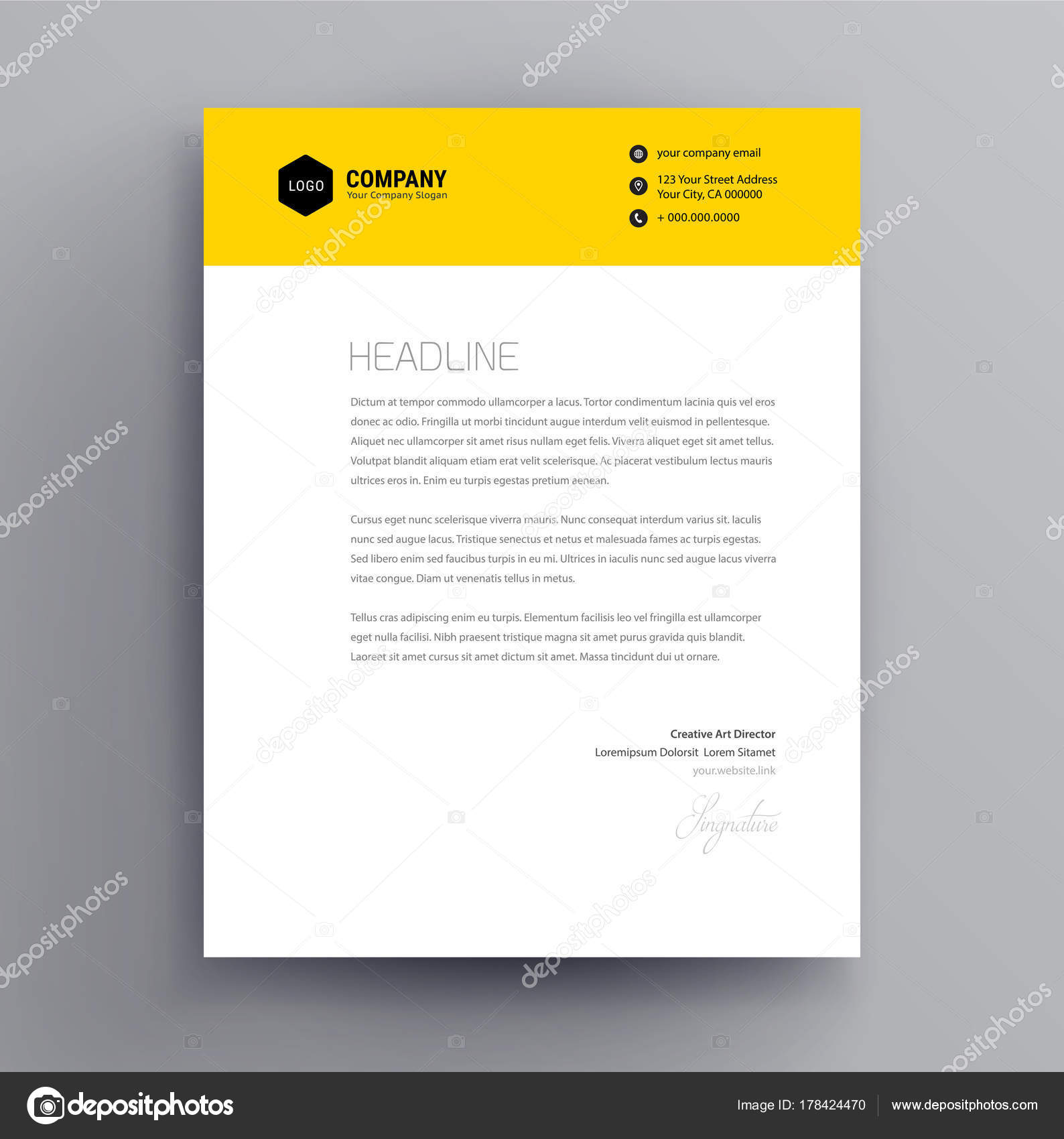 Letterhead design template and mockup minimalist style vector letterhead design template and mockup minimalist style vector stock vector spiritdancerdesigns Image collections