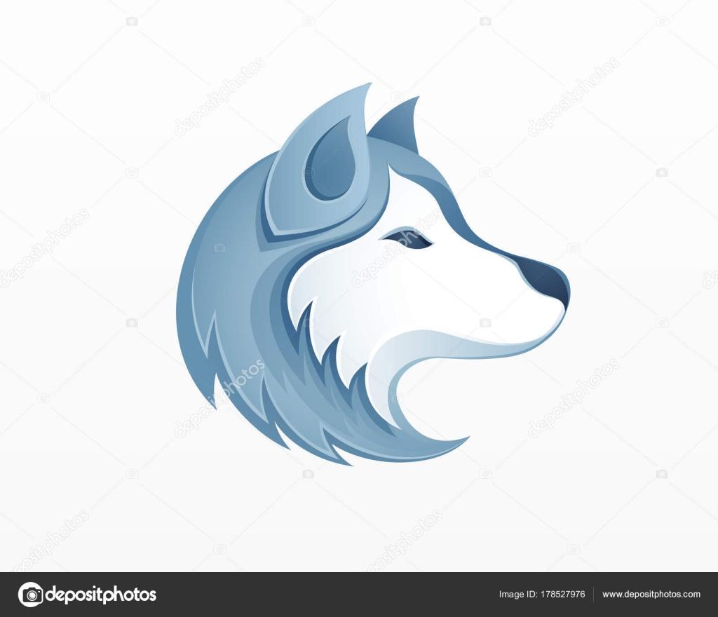 ハスキー犬頭ロゴ ベクトル イラスト 冬屋外シベリア ストック