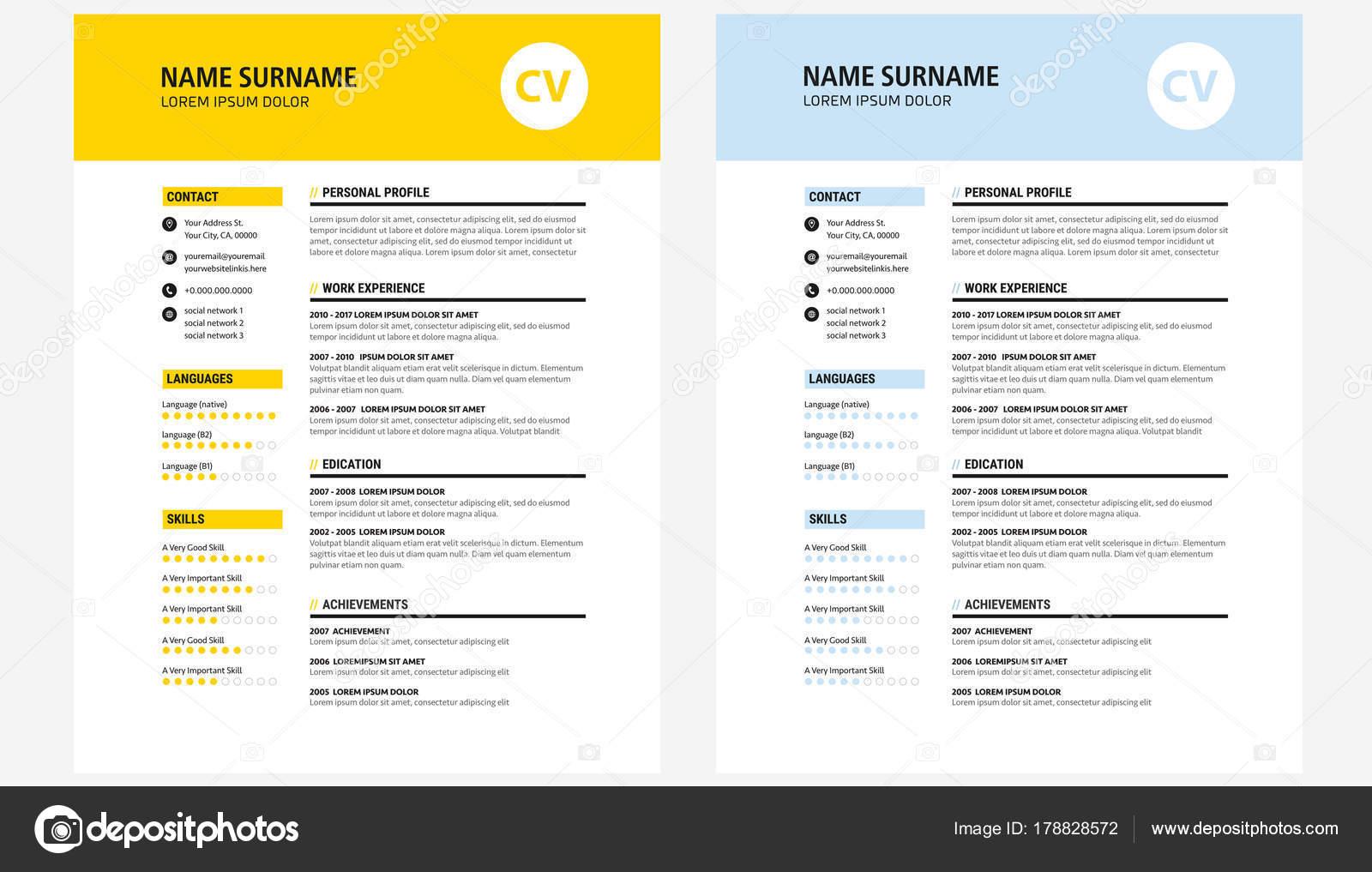 CV / reanudar diseño plantilla amarillo y oscuro azul - vector ...