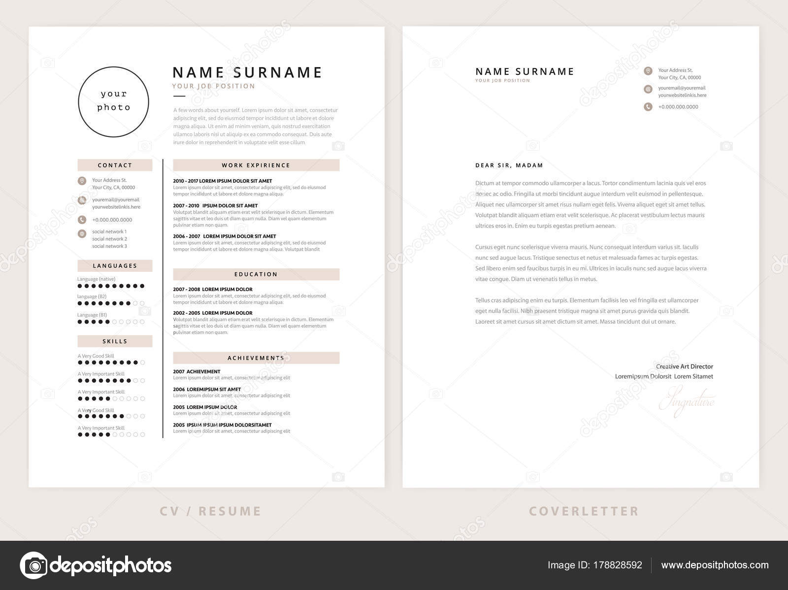 cv resume and cover letter template elegant stylish design v