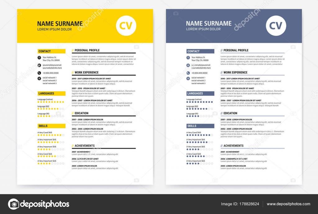CV / reanudar diseño Plantilla formulario amarillo y oscuro azul ...