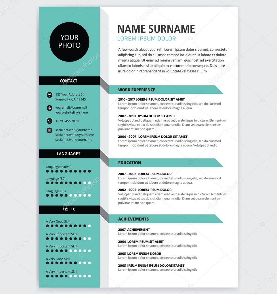 cv cr u00e9atif    resume template vecteur minimaliste de