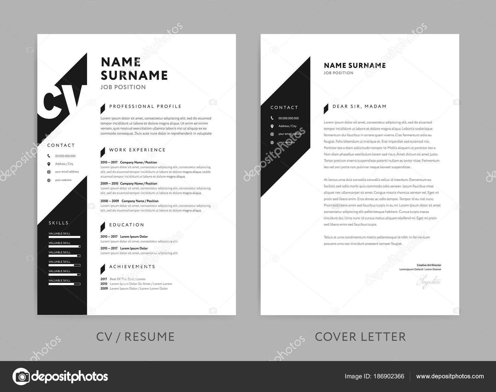 Minimalista Cv / reanudar y carta - diseño minimalista - negro ...
