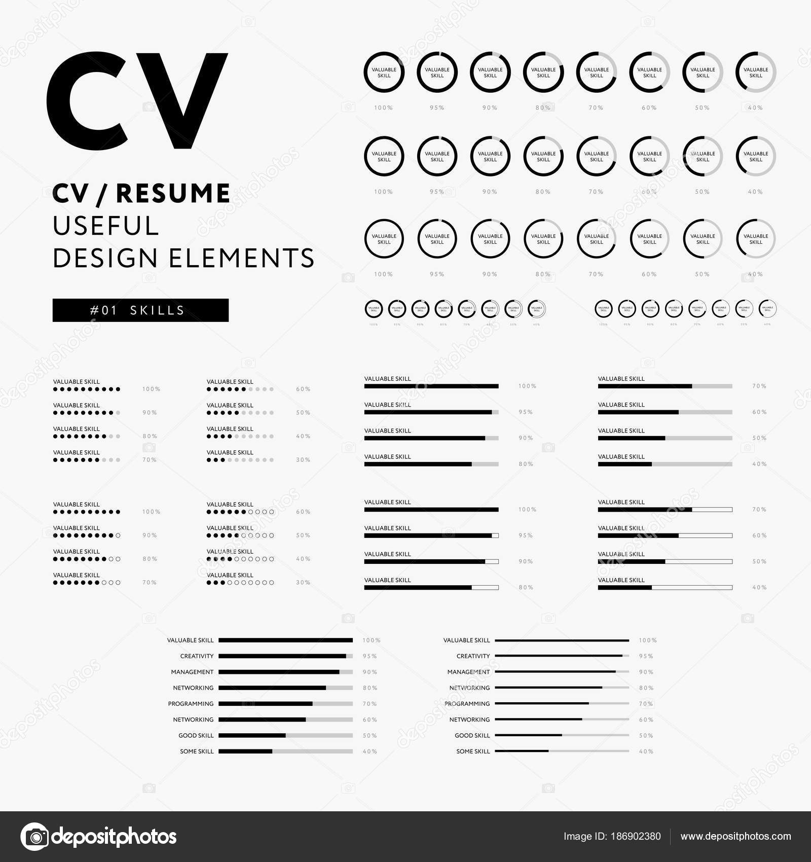 cv resume design elements skills icons set minimal iconography vector black and white infographics vector by forestgraphic - Elements Of A Resume