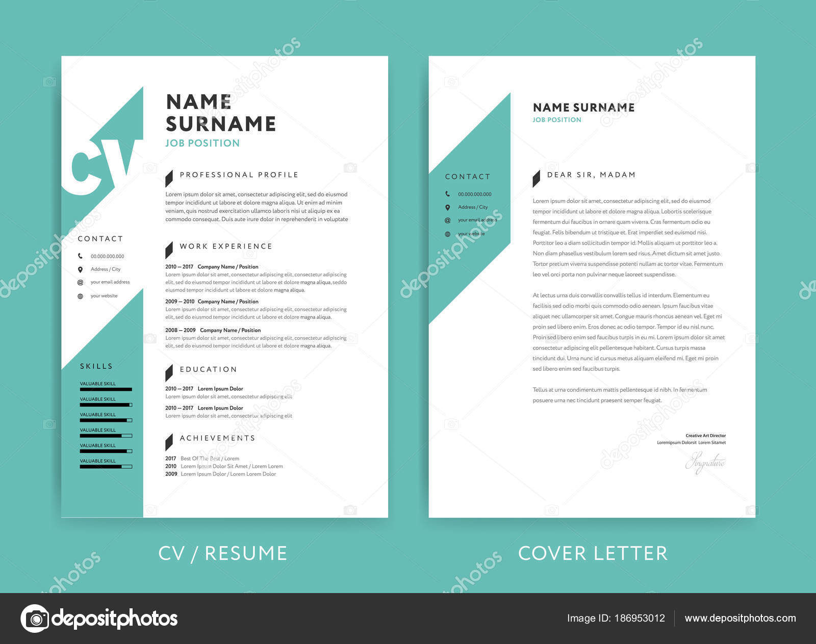creative cv resume template teal green background color minima