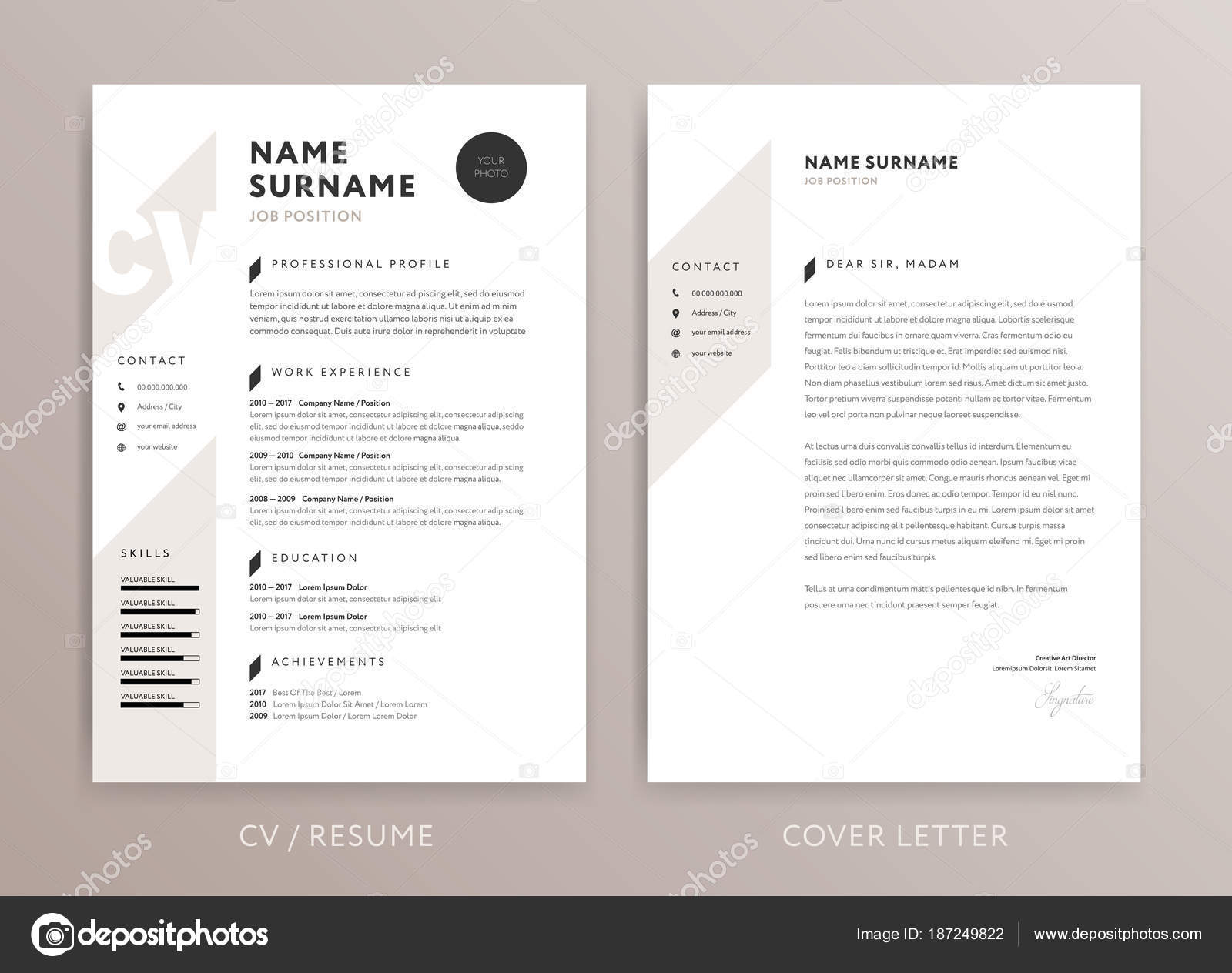 Stylish Cv Design Curriculum Vitae Cover Letter Template Ros