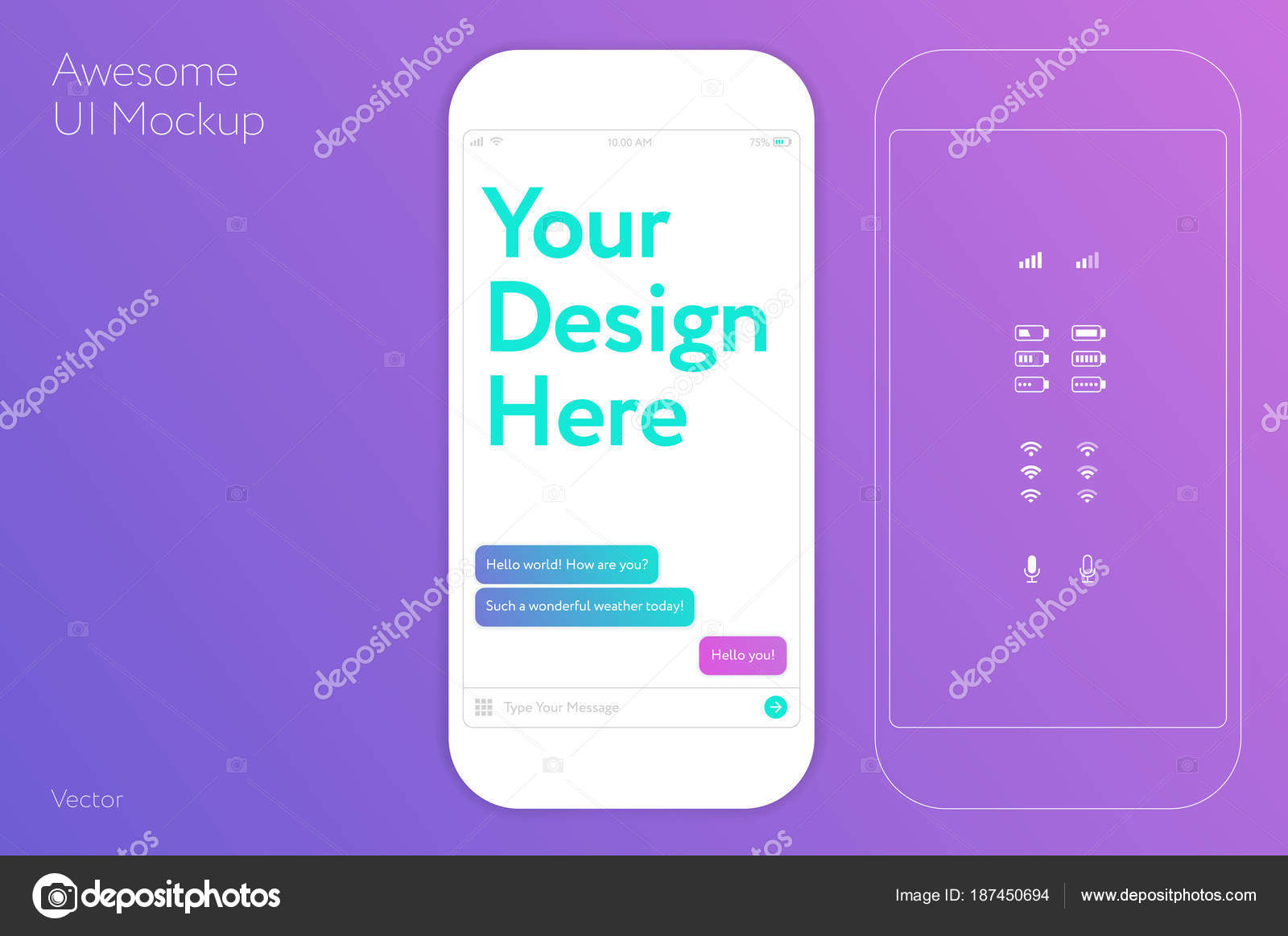 awesome ui design white mobile phone vector template mockup fo
