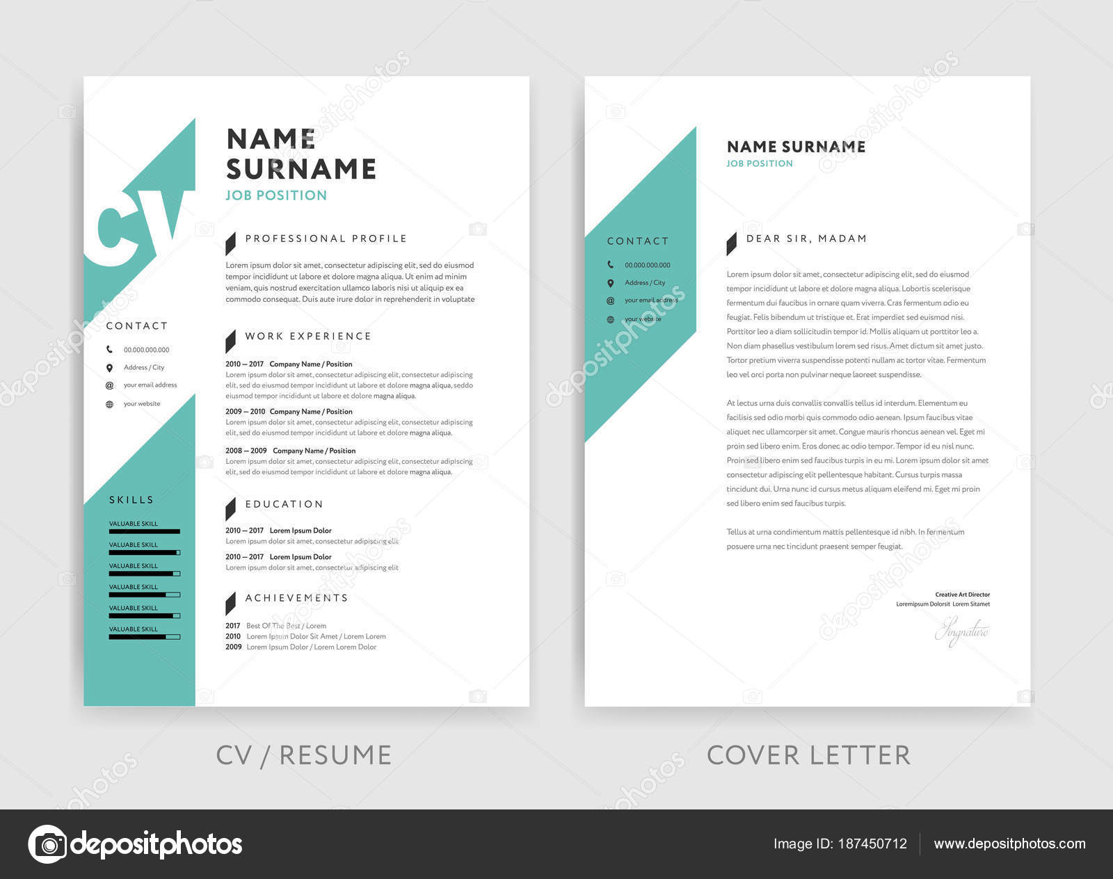 Creative Cv Resume Template Teal Green Background Color Minima Stock Vector C Forestgraphic 187450712