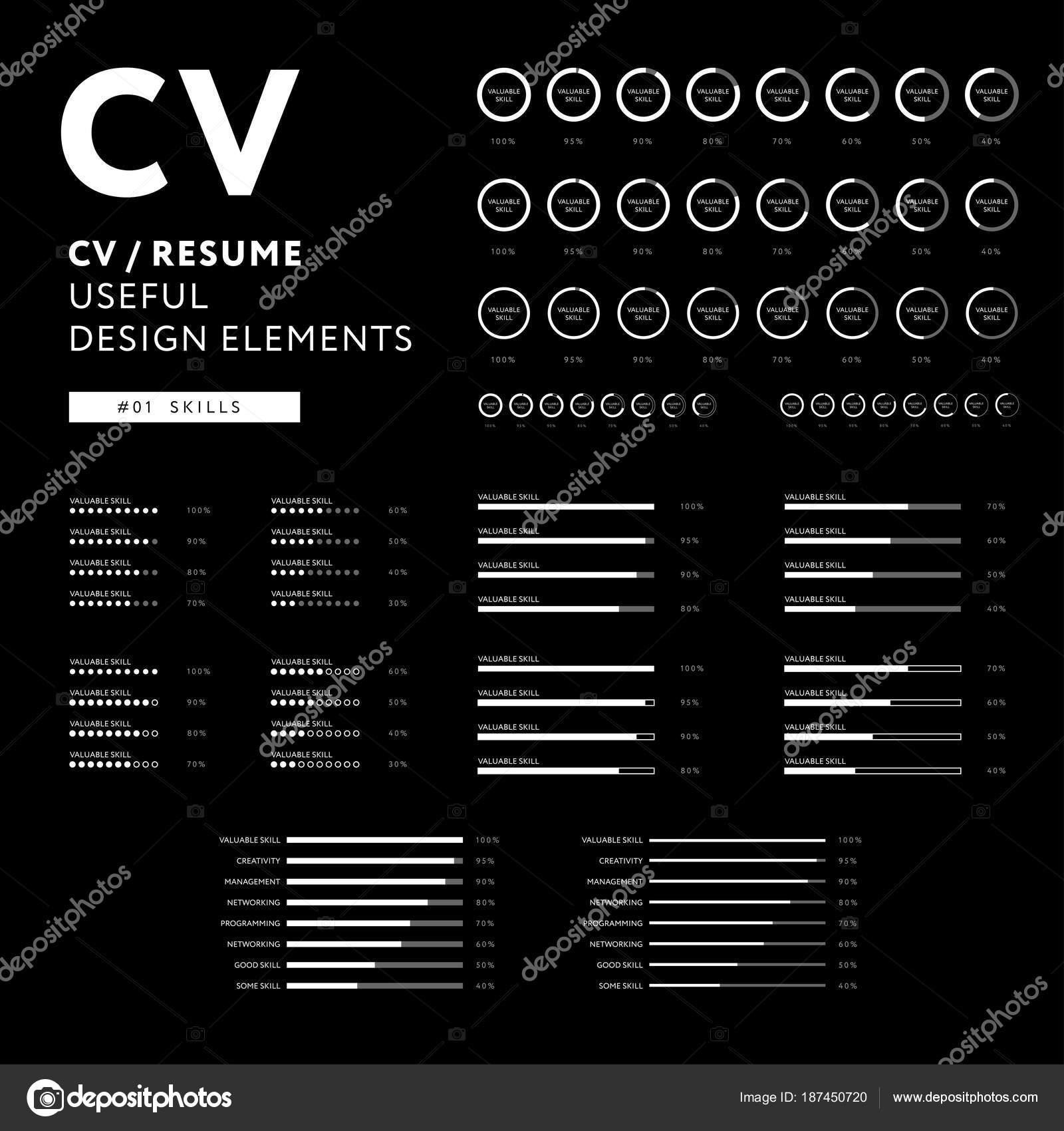 creative cv design curriculum vitae useful design elements inf stock vector