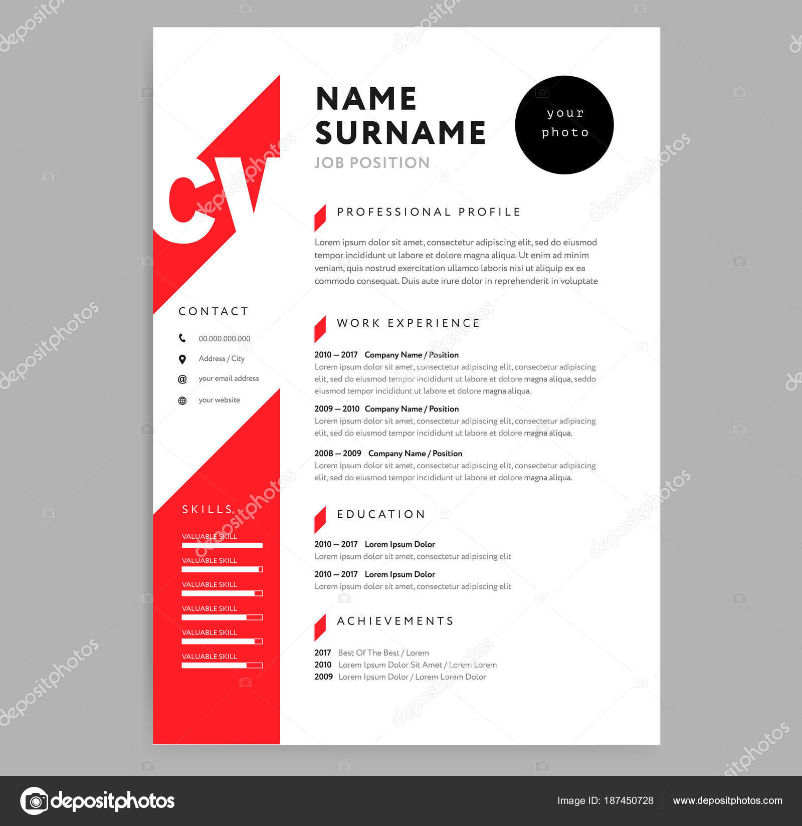 vector  cv editable template