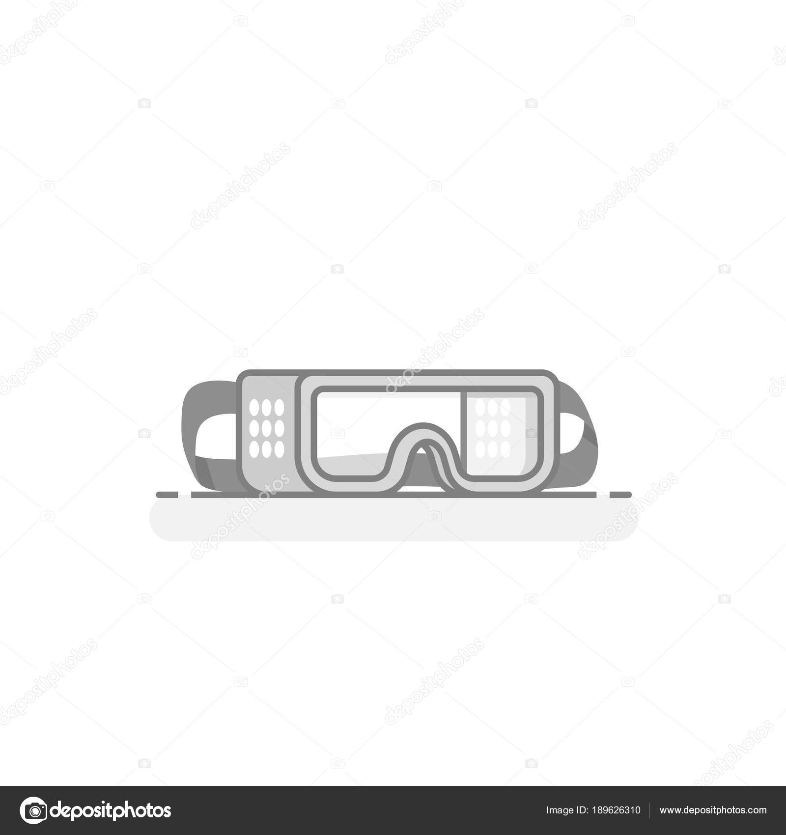 scientific safety goggles laboratory materials tools icon flat