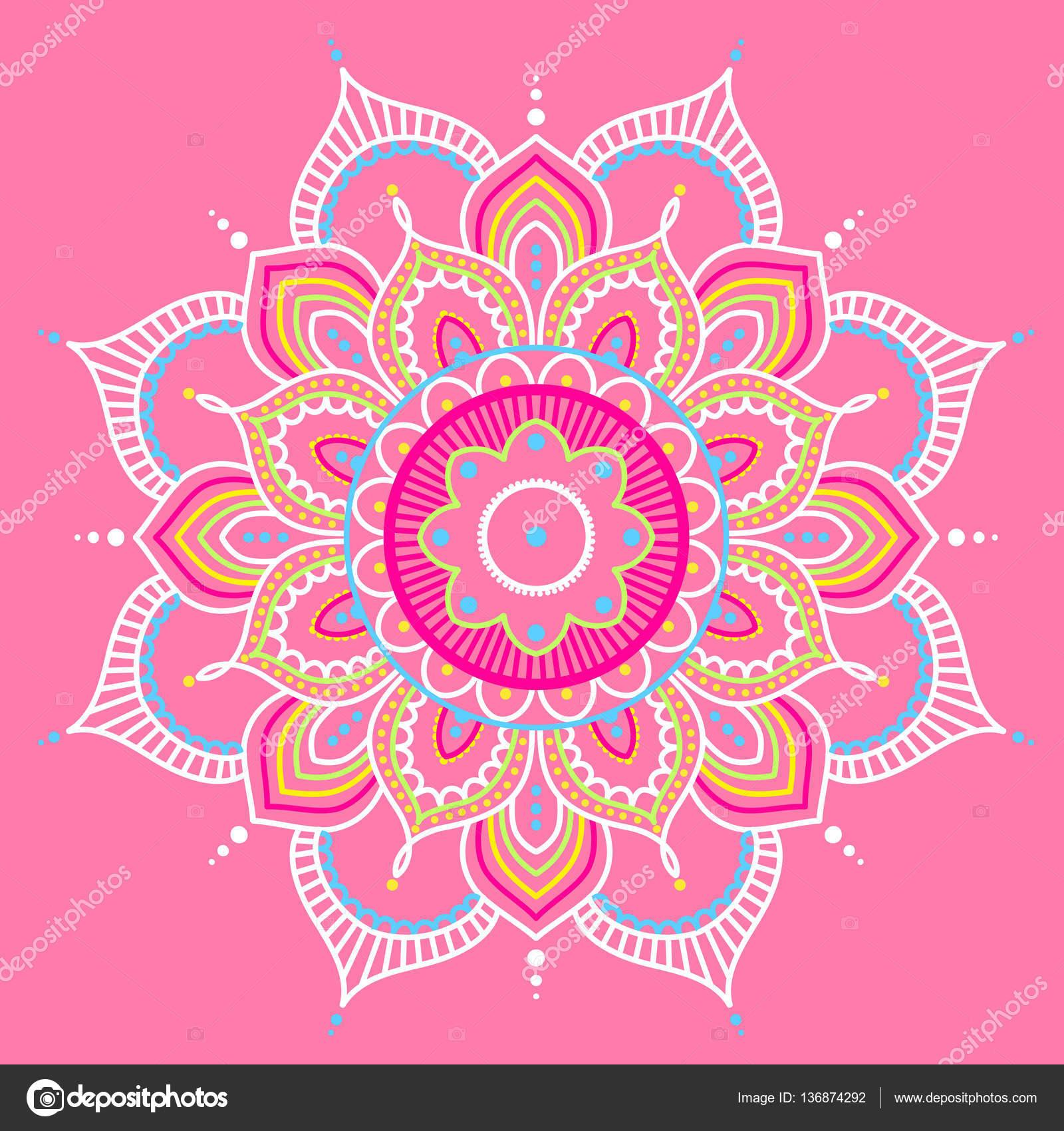 Fondo Mandalas Rosa Mandala De Colores Sobre Fondo Rosa