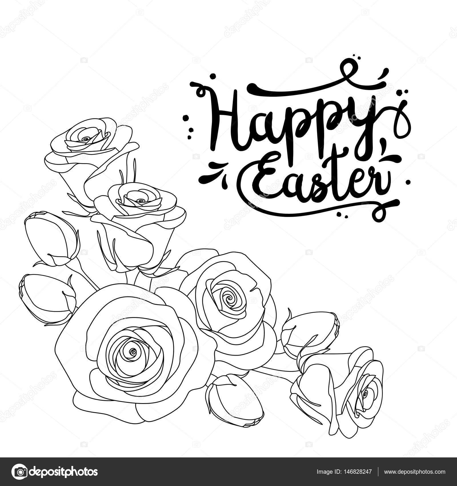 Carte De Voeux Avec Texte Joyeuses Pâques Et Roses Page à Colorier