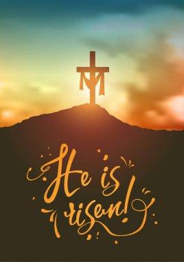 Christian easter scene, Saviours cross on dramatic sunrise scene, with text He is risen, illustration
