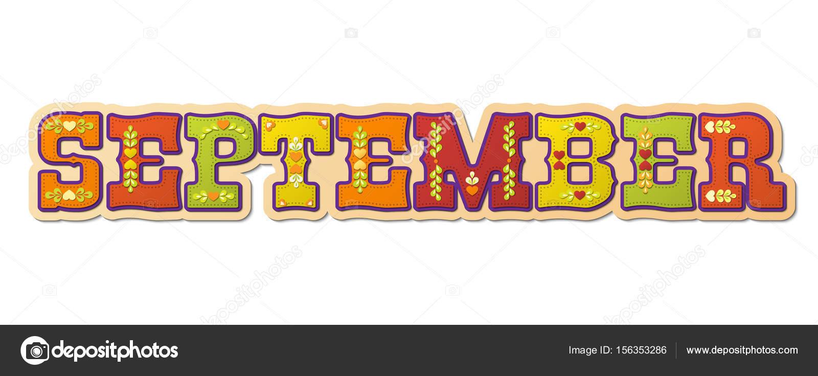 9 月イラストイラストのカレンダー月の名前 ストックベクター
