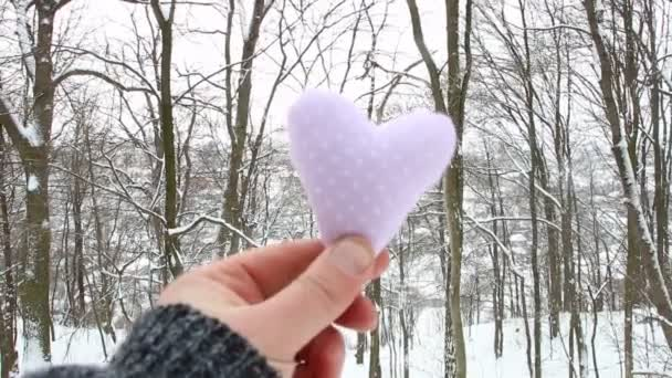 Winter, Love or Valentines Day idea. Male holding a heart on the background of the winter forest