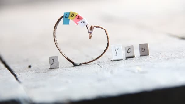 I Love You - words on the rustic wooden background