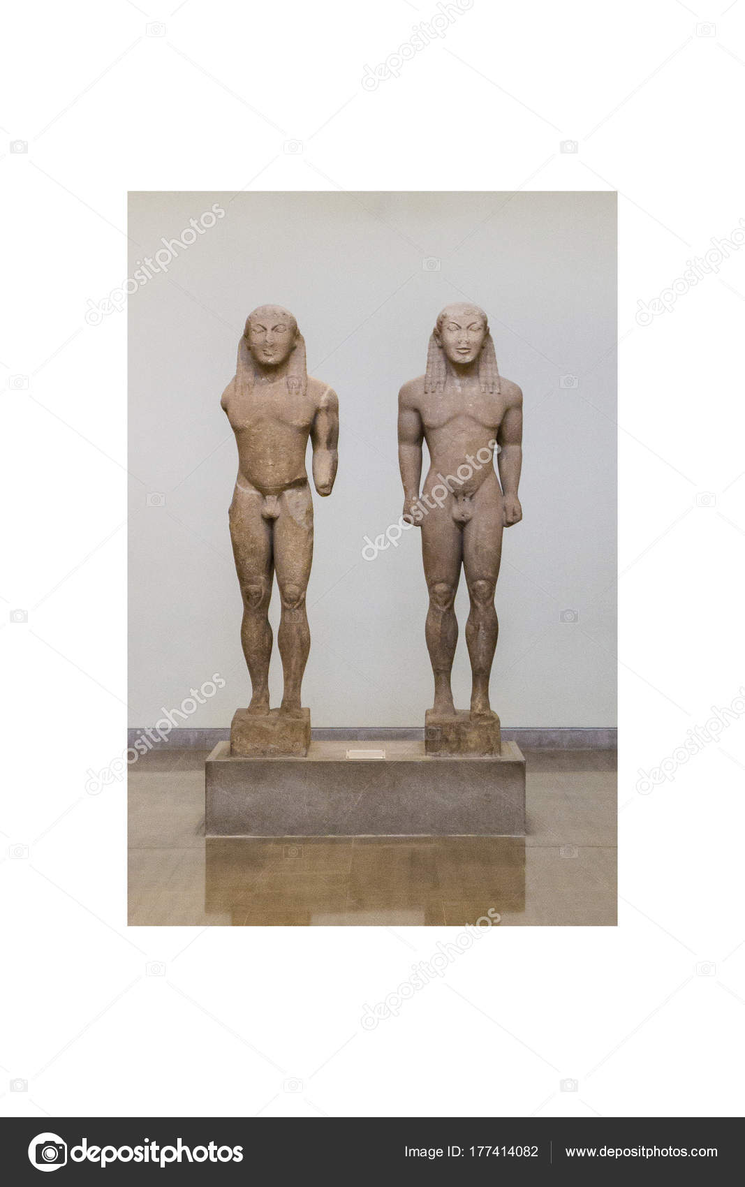 Statue Kouri Kleovis Viton Nel Museo Archeologico Delfi Grecia ...