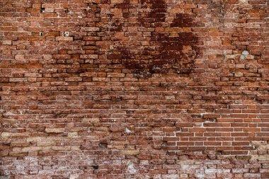Red old brick wall texture loft grunge background. Italian masonry