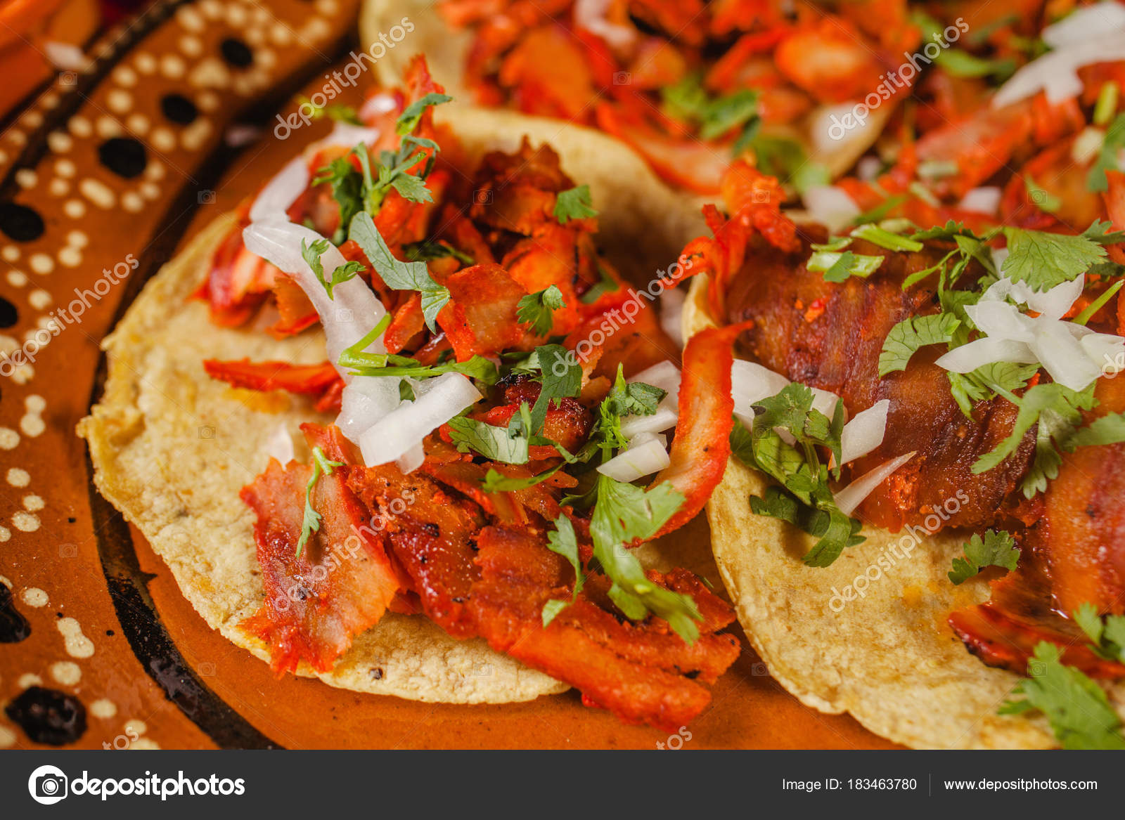 Taco Pastor Lemon Mexican Spicy Food Mexico City Stock Photo