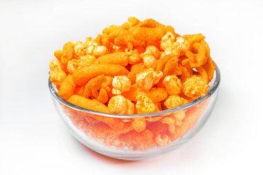 Orange Cheese Puff and popcorn Snack Background