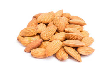 Group of almonds isolated on
