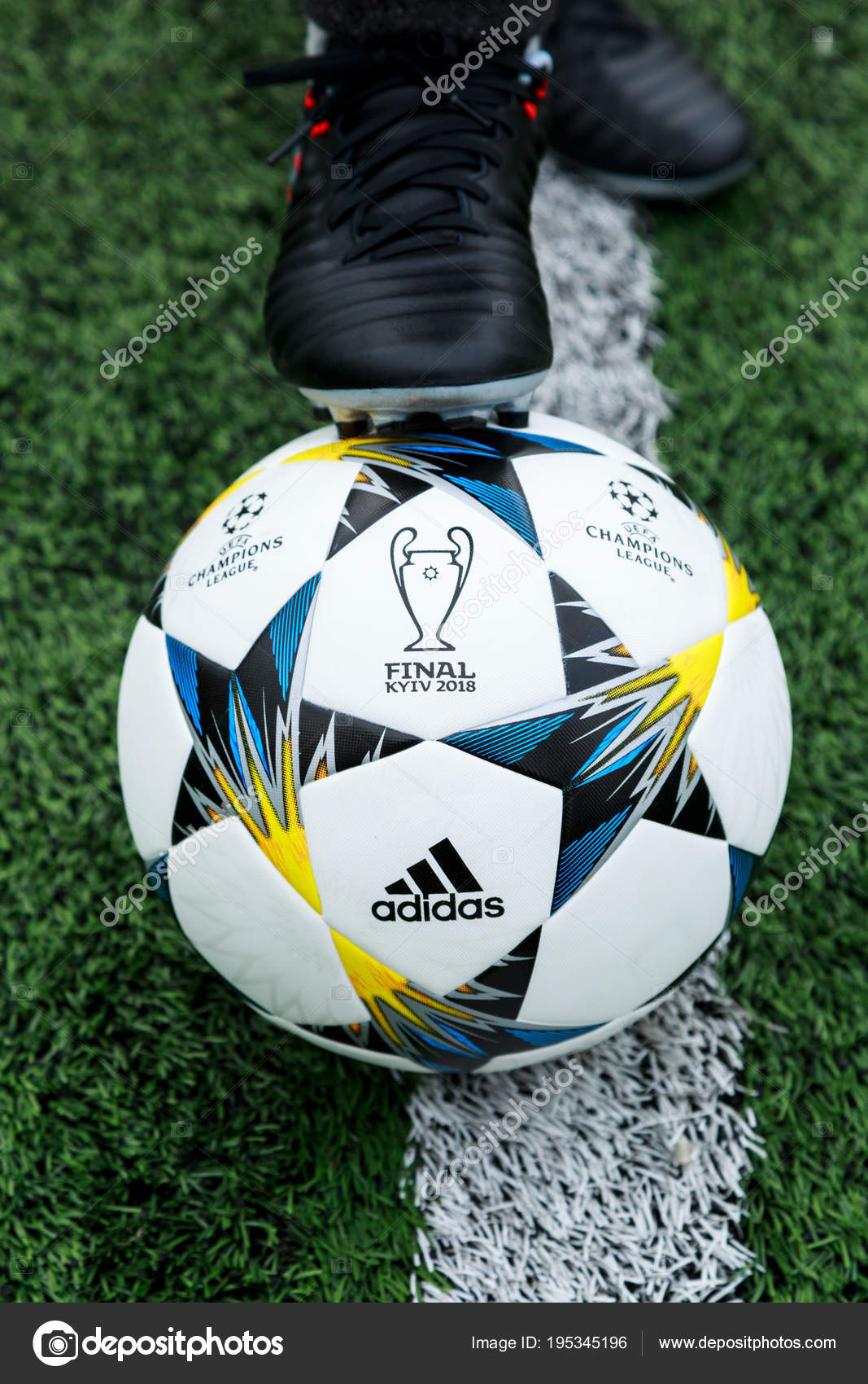 ce71719b8 KYIV, UKRAINE APRIL 05, 2018: Official match ball of UEFA Champions League  season 2017/18 Final Kyiv Adidas Finale 18 Kiev Top training on the grass  before ...