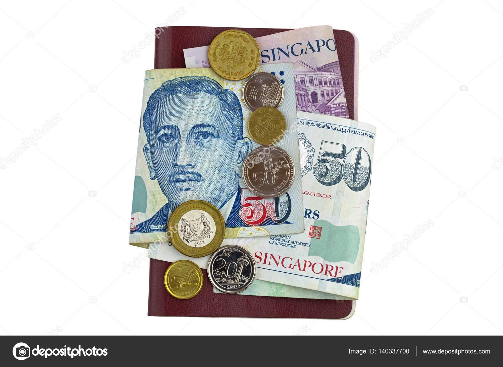 Singapur Dollar Banknoten Und Münzen Auf Pass Isoliert Auf Weiss