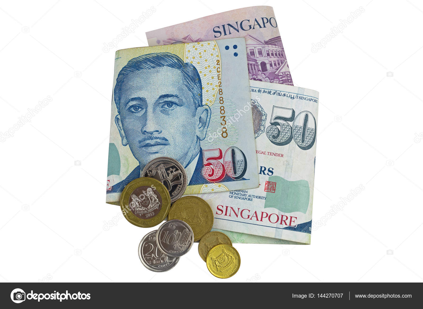 Singapur Dollar Banknote Sgd Und Münzen Isoliert Auf Weiss