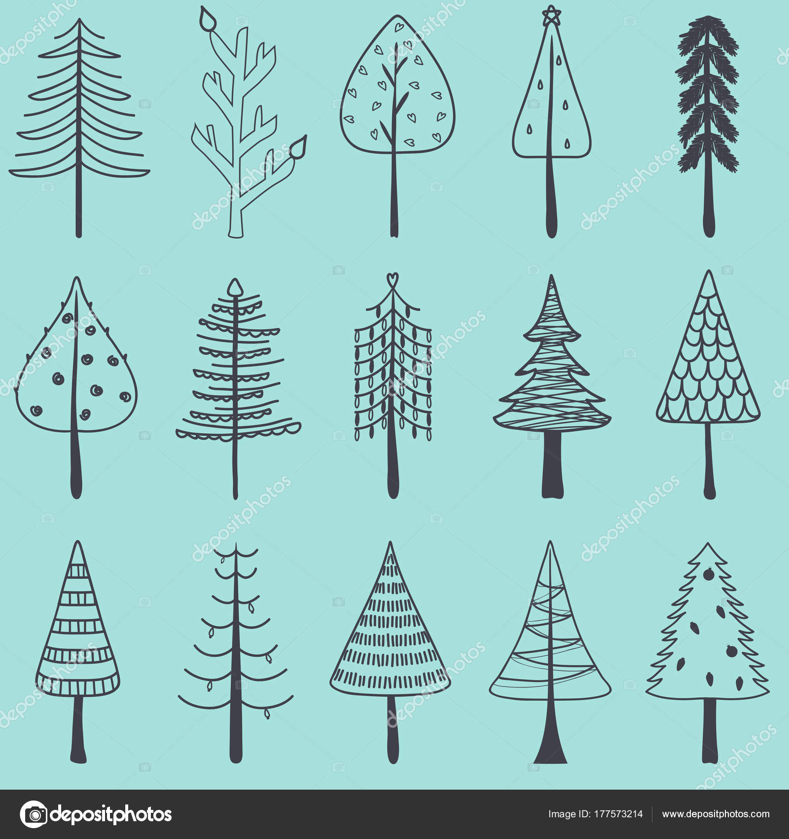 Vector Illustration Of Simple Hand Drawn Christmas Tree Set Cute Pine In Different Shapes Holiday Decorating Elements Isolated On Blue Background