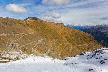 Hairpin turns of mountain pass (Stelvio Pass) named Stilfser Joch in Deutsch, in Italy