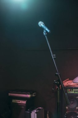 Microphone on stage and  lights
