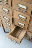 Old wooden drawers in archive