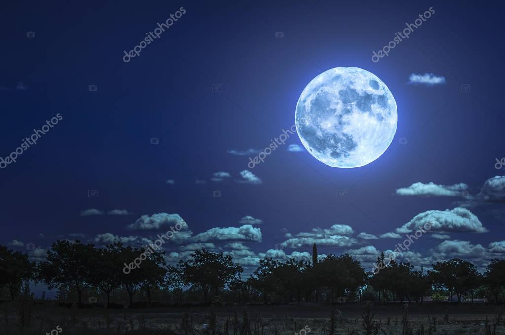 Cloudy sky and moon in the night