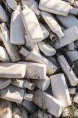 Plastic waste. White empty plastic bottles.