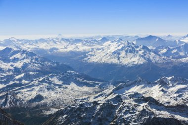 Panoramic view on the Swiss Alps from the top of Mont Blanc